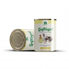 Lucky´s Dreierlei Geflügel mit Karotten & Löwenzahn Hundefutter 800 g