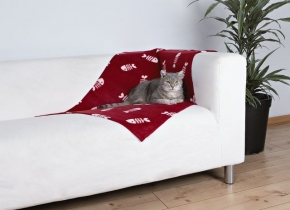 Katzen Fleecedecke Beany 100 x 70 cm, bordeaux