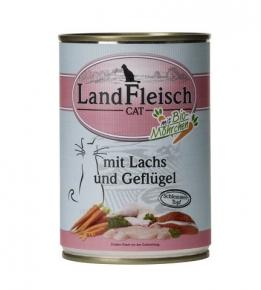 Landfleisch Lachs und Geflügel mit Biogemüse Katzenfutter 400 g Dose