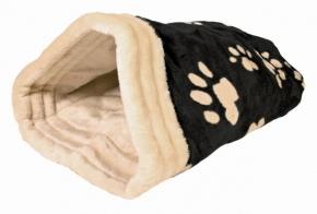 Katzen Kuschelsack Jasira schwarz / beige