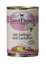 Landfleisch Hundefutter Geflügel und Lachsfilet mit Biogemüse 400 g