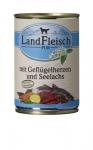 Landfleisch Hundefutter Geflügelherzen und Seelachs mit Biogemüse 400 g