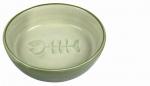 Katzen Keramiknapf mit Gräten 0,2 l / ∅ 13 cm grün