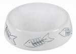 Katzen Keramiknapf mit Gräten 0,2 l / ∅ 15 cm weiß